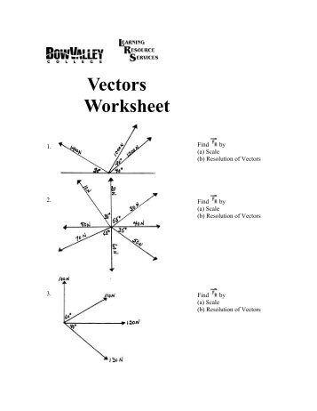 Vectors Worksheet - Bow Valley College