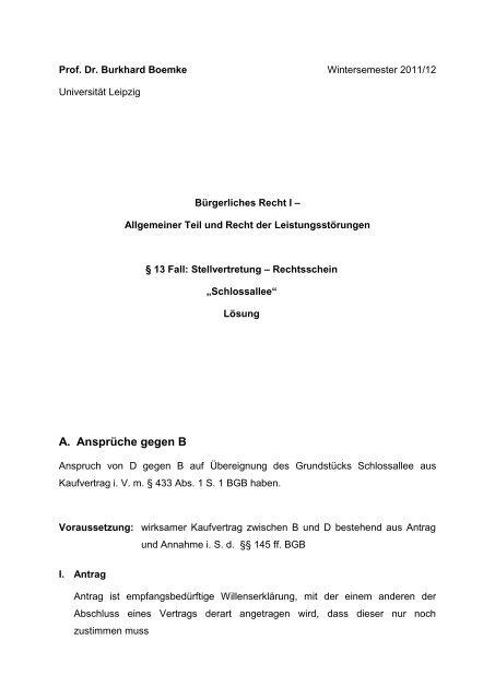 Lösungsvorschlag Fall 2 Stellvertretung Universität Leipzig