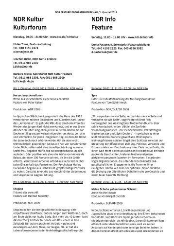 NDR Kultur Kulturforum NDR Info Feature