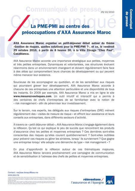 Communique De Presse Axa Assurance Maroc Organise Un