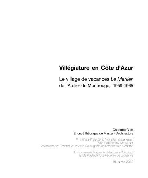 Villégiature en Côte d'Azur - EPFL