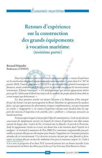 Retours d'expérience sur les grands équipements - Institut Français ...