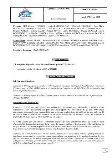 CONSEIL MUNICIPAL Session Ordinaire PROCES ... - Publier