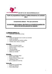 Buffet apéritif prix traiteur 2012 - Nuithonie