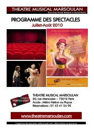 Programme des spectacles juillet et août 2010 - Théâtre Musical ...