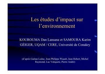 Les études d'impact sur l'environnement