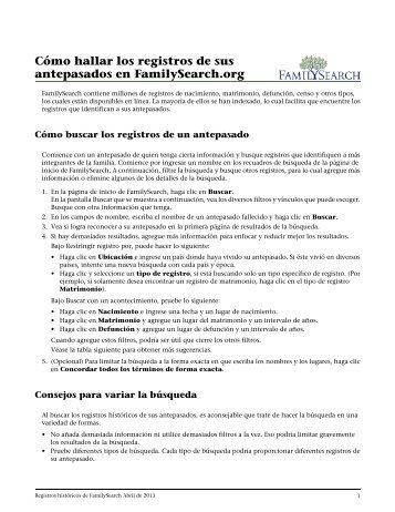 Cómo hallar los registros de sus antepasados en FamilySearch.org