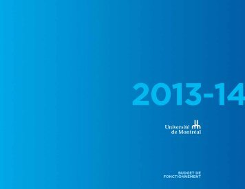 Budget de fonctionnement 2013-2014 - Université de Montréal