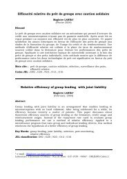 Efficacité relative du prêt de groupe avec caution solidaire ... - Softlab
