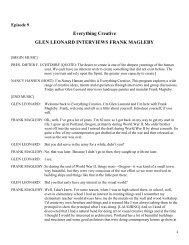 Everything Creative GLEN LEONARD INTERVIEWS FRANK ...