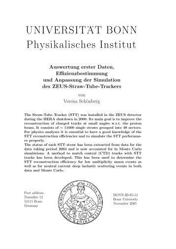UNIVERSIT . . AT BONN Physikalisches Institut - ZEUS - Universität ...