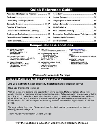 Mohawk College Continuing Education Catalogue Winter 2013