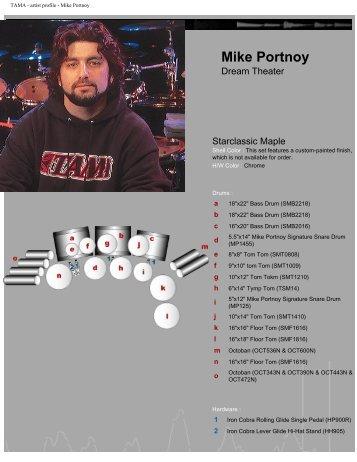 "TAMA - artist profile - Mike Portnoy - ""Brothers"" Music Shop"