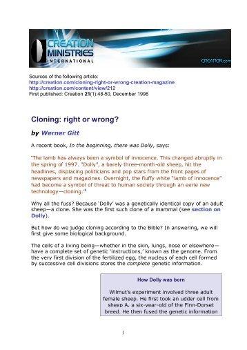 Cloning: right or wrong? - Werner Gitt