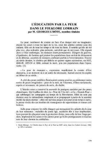 L'ÉDUCATION PAR LA PEUR DANS LE FOLKLORE LORRAIN