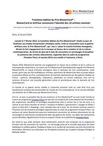 Troisième édition du Prix MasterCard® : MasterCard et ArtFloor ...