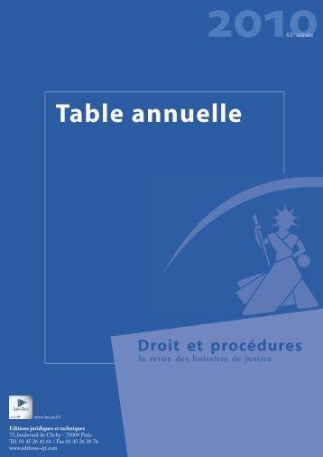 Table annuelle 2010 - Editions Juridiques et Techniques