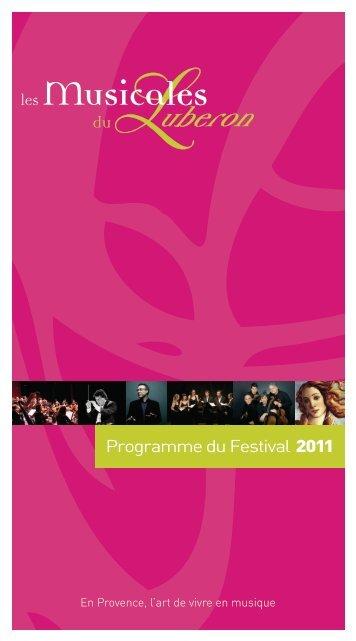 Programme du Festival 2011 - Les Musicales du Luberon