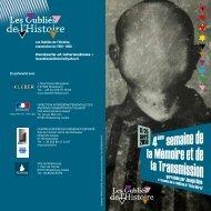 Programme 2010 de la 4ème semaine - Les Oubliés de l'Histoire