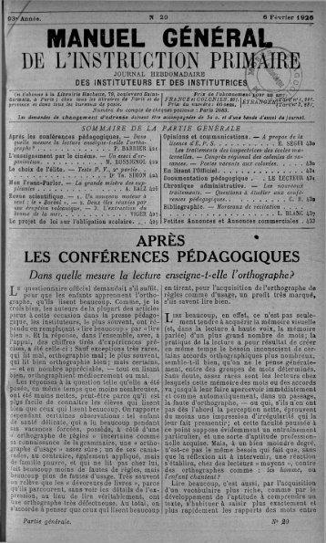 MANUEL GÉNÉRAI DE L'INSTRUCTION PRIMHKE - INRP
