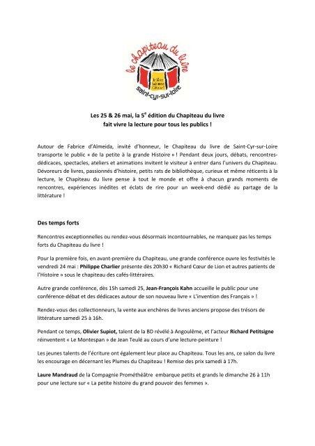 Communique De Presse Les Amis Du Chapiteau Du Livre