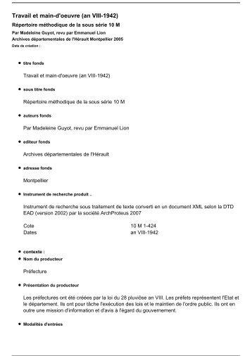 Inventaire en Pdf - Archives départementales de l'Hérault