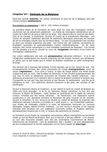 Géologie de la Belgique - Formations dispensées à l'Ecole ...