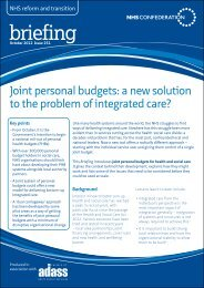Joint personal budgets a new solution to the problem of integrated care