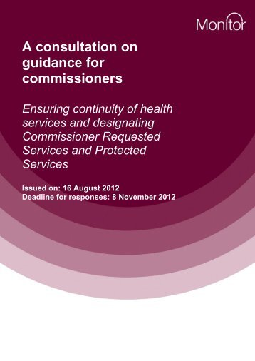 Consultation on guidance for commissioners + annex - final 150812