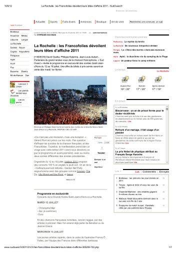 La Rochelle : les Francofolies dévoilent leurs têtes d'affiche 2011