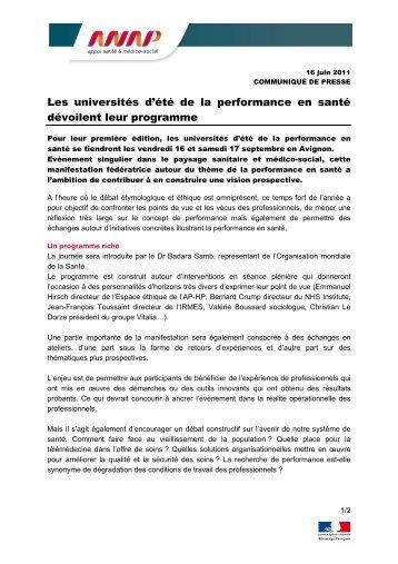 Les universités d'été de la performance en santé dévoilent ... - Anap