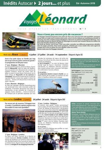 Autocar Inédits Eté/Automne 2013 - Voyages Léonard