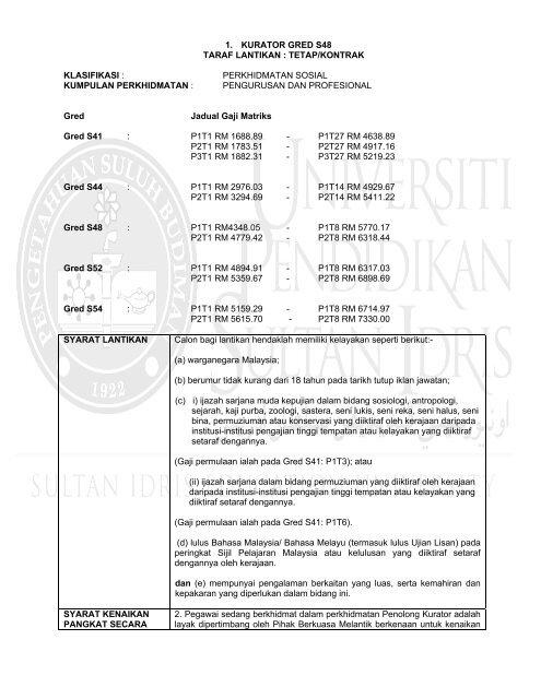 1 Kurator Gred S48 Taraf Lantikan Tetap Kontrak