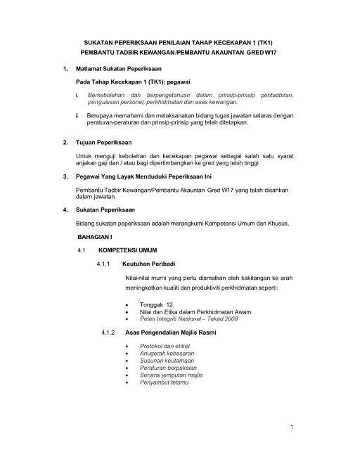 Pembantu Tadbir Kewangan W17 Tk1 Portal Rasmi Bahagian