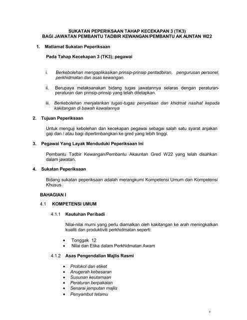 Pembantu Tadbir Kewangan W22 Tk3 Portal Rasmi Bahagian