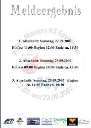 1. Abschnitt: Samstag, 22.09.2007 Einlass 11:00 Beginn 12:00 Ende ...