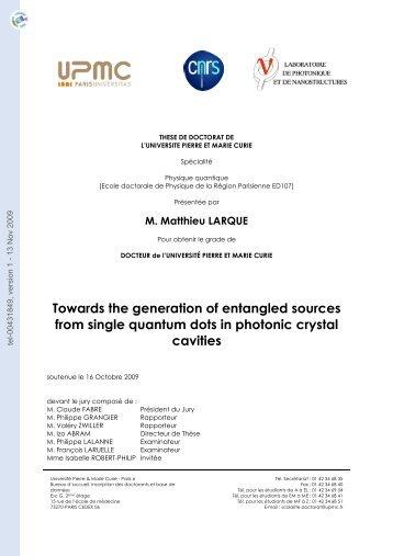 Vers la génération de sources de paires de photons intriquées à ...