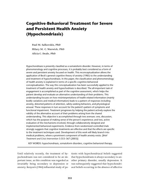 Cognitive Behavioral Treatment For Severe And Persistent