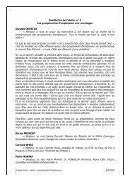 Restitution de l'atelier n° 2 Les groupements d'employeurs mer ...