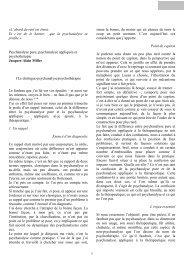 Psychanalyse pure, psychanalyse appliquée et ... - atelier clinique