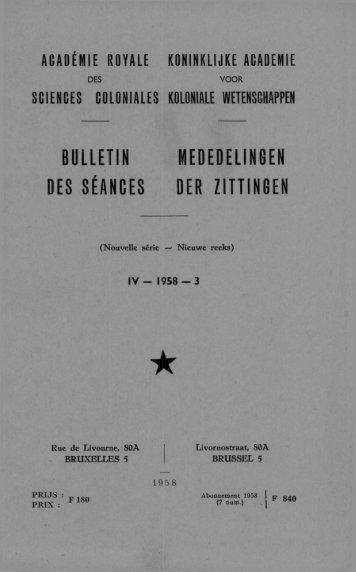 Vol.4(1958) n°3 (PDF format) - Royal Academy for Overseas Sciences