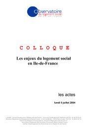 Les enjeux du logement social en Ile-de-France. Colloque, 5 juillet ...