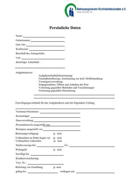 Formular Betreuungsdaten Btv Kibo