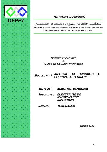 8 analyse de circuits a courant alternatif secteur : electrotechnique ...