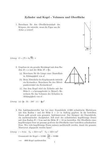 Ziemlich Volumen Eines Zylinders Arbeitsblatt Mit Antworten ...