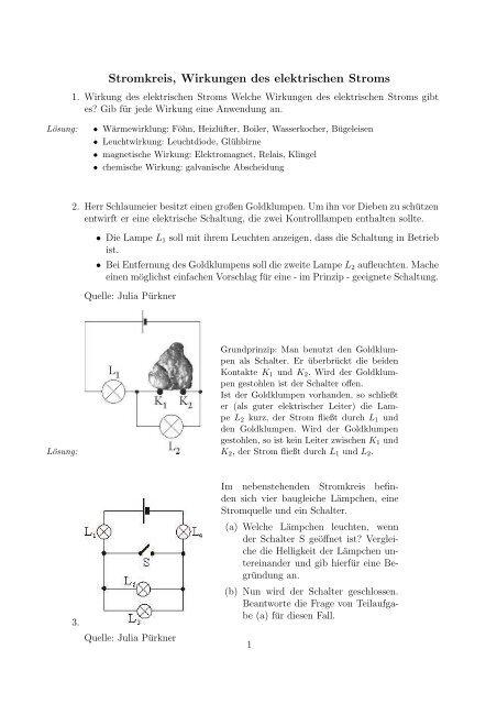 Stromkreis Wirkungen Des Elektrischen Stroms
