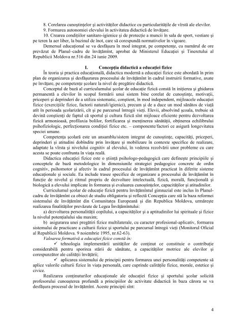Educatie fizica_Curriculum - Ministerul Educatiei al Republicii ...
