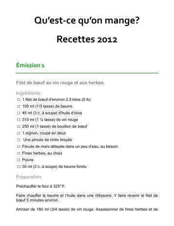 Qu'est-ce qu'on mange? Recettes 2012 - TV Cogeco