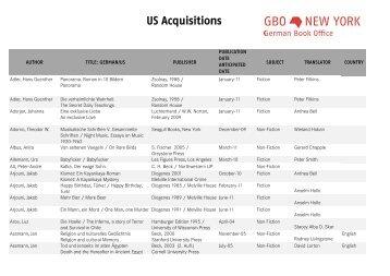 US Acquisitions - Frankfurter Buchmesse