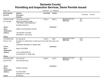 Sarasota County Permitting and Inspection Services, Demo Permits ...